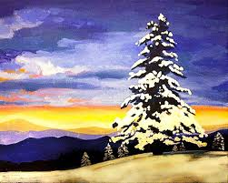 snowy evergreens muse paintbar
