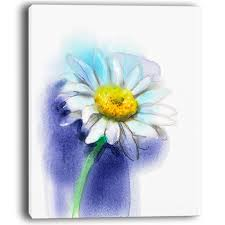 white gerbera daisy in blue painting print on wrapped canvas