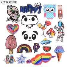 <b>ZOTOONE Iron</b> On Panda Owl Skull Patches Applique Embroidery ...