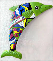 hand painted metal dolphin wall hanging tropical metal garden and patio art handcrafted in