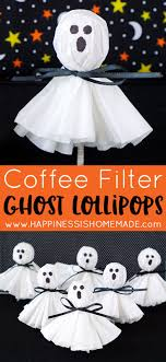 These coffee filter ghost lollipops are a cute and easy twist on classic  kleenex tissue ghosts. A nostalgic and fun Halloween treat that's sure to  be a big ...