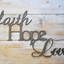 faith hope love metal wall art