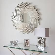 Decorative Mirror Groupings This Elegant Round Silver Swirl Wall Mirror Is Made Of Wood With