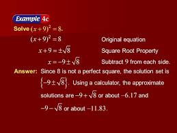example 6 4a solve original equation square root property subtract 9 from each side
