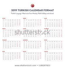 2019 Calendar Turkish Starts Monday Public Stock Vector Royalty