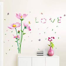 BIBITIME Pink Flower Wall Decals Valentine's Day <b>Love Quotes</b> ...