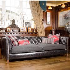 lauren empire grand sofa in leather with ralph lauren cushions