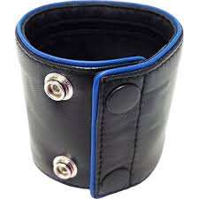 details about rouge wrist wallet piping leather bracelet with purse black blue size medium