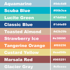 Hex Codes for the the EC monthly colours (vertical layout ...