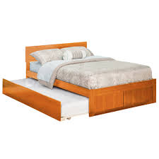 Nature Wood Flat Platform Bed Frame Full Size With Trundle Also ...