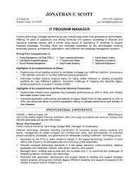 sample it resume objectives it program manager professional experience