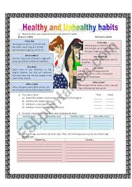 Healthy Unhealthy Food Chart Healthy And Unhealthy Habits Esl Worksheet By Adalver