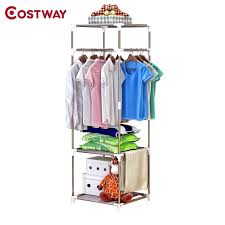 costway simple clothes coat rack bedroom floor hanging clothes storage shelves balcony multi functional drying