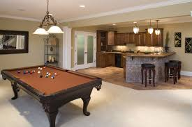 Home Interiors:Cool Basement For Game Room With Creamy Rug And Hanging Lamp  Ideas Cool