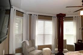 image of modern bay window curtain rod