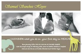 Sample Baby Announcement Memorial Cards Birth Announcements