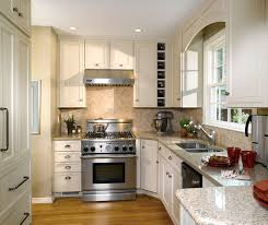 small kitchen design with off white cabinets by decora cabinetry