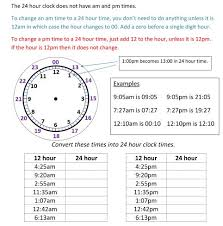 24hr Conversion Chart Military Time Chart Conversion 24 Hour Clock With