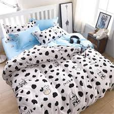 dairy cow pattern bed pillowcases duvet cover set quilt cover set twin queen king size blue and white complete bedding sets duvet sets king from hibooth
