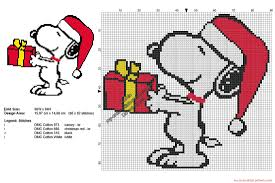 Snoopy Embroidery Designs Free Christmas Snoopy With A Present Free Cross Stitch Pattern