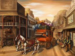 the stagecoach paintings cowboys wild west hd wallpaper