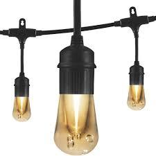 enbrighten vintage 12 ft black integrated led cafe string lights