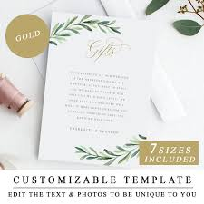 Gift Registry Template Greenery Gifts Cards Printable Wedding Gift Registry Template With Gold Calligraphy Wedding Insert Cards Enclosure Card Instant Download