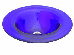 led cobalt glass drop in or vessel sink