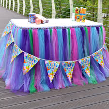 purple pink blue and green tulle fabric table skirt for party table decor 1 yard
