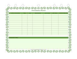 Printable Immunization Record Chart Immunization Record