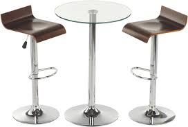 round high glass top bar table and minimalist adjule