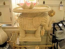 SOLD - Wicker Elephant Table