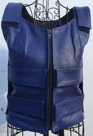 Bulletproof Vest Designer Electric Blue Bulletproof Leather Vest Women Ladies