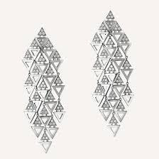 triangle chandelier earrings in 14k gold with diamonds from ilana ariel jewelry