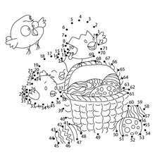 Easter Eggs And Chicks Dot To Dot Game Coloring Pages Hellokidscom