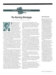 From the Guest Editor: The Nursing Shortgage | Springer Publishing