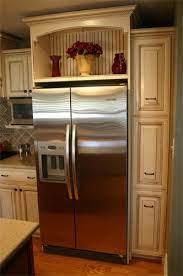 Open Storage Over Fridge That Sets Higher Than Cabinets Kitchen Cabinet Design New Kitchen Cabinets Kitchen Renovation