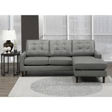 billie mid century modern grey top grain leather tufted sectional sofa on free today 20847008