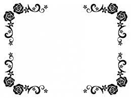 バラと小花の白黒フレーム飾り枠イラスト 無料イラスト かわいいフリー