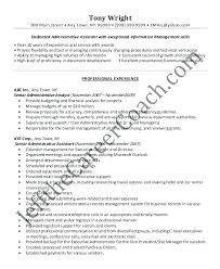 Sample Resume Administrative Assistant Skills Senior Administrative ...
