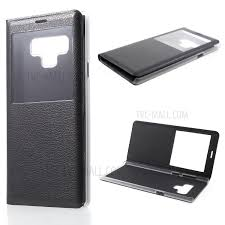 view window pu leather flip phone case for samsung galaxy note 9 black 1