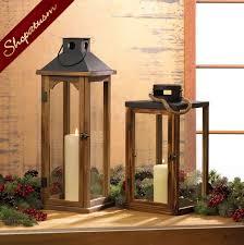 med metal top wood lantern rustic wood lantern wedding centerpiece
