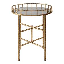 cross bar tray side table antique gold 26 mirror top end hammered metal round 1 of 1free see more
