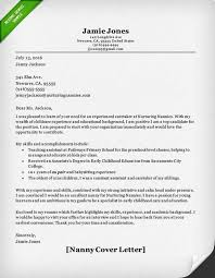 Examples Of Cover Letters For Resume Fascinating Nanny Sample Cover Letter Resume Samples Swarnimabharathorg