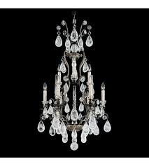 schonbek 2480 47 versailles rock crystal 9 light 21 inch antique pewter chandelier ceiling light