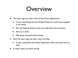 the great depression from the perspective of today and today from six years ago we economists saw the great depression as something the federal reserve system could should and ought to have stopped dead in its tracks at