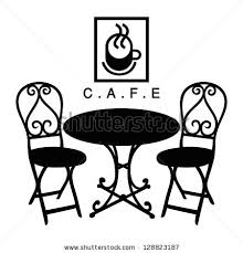 cafe table and chairs clipart. vector street cafe, silhouette cafe sign table and chairs clipart