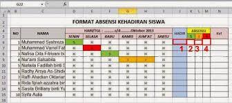 Declarasi (keterangan tidak hadir) keterangan: Membuat Rekap Kehadiran Siswa Otomatis Pada Excel Belajar Office