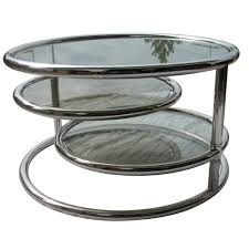 vintage pace tubular chrome and smoked glass 3 tier coffee table with swiveling two lower layers