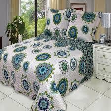 Bohemian Boho Blue Green Quilt Coverlet Set Oversized | Luxury ... & Boho Blue Green Microfiber Quilt Coverlet Set Oversized Adamdwight.com